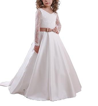 aedeb4c9668 Amazon.com  GZY Long Sleeves Flower Girls Dresses for Weddings Lace  Communion Dress GZY44  Clothing