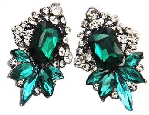 f485e3f2a Amazon.com: Art Deco Antique Vintage Style Emerald Green Rhinestone ...