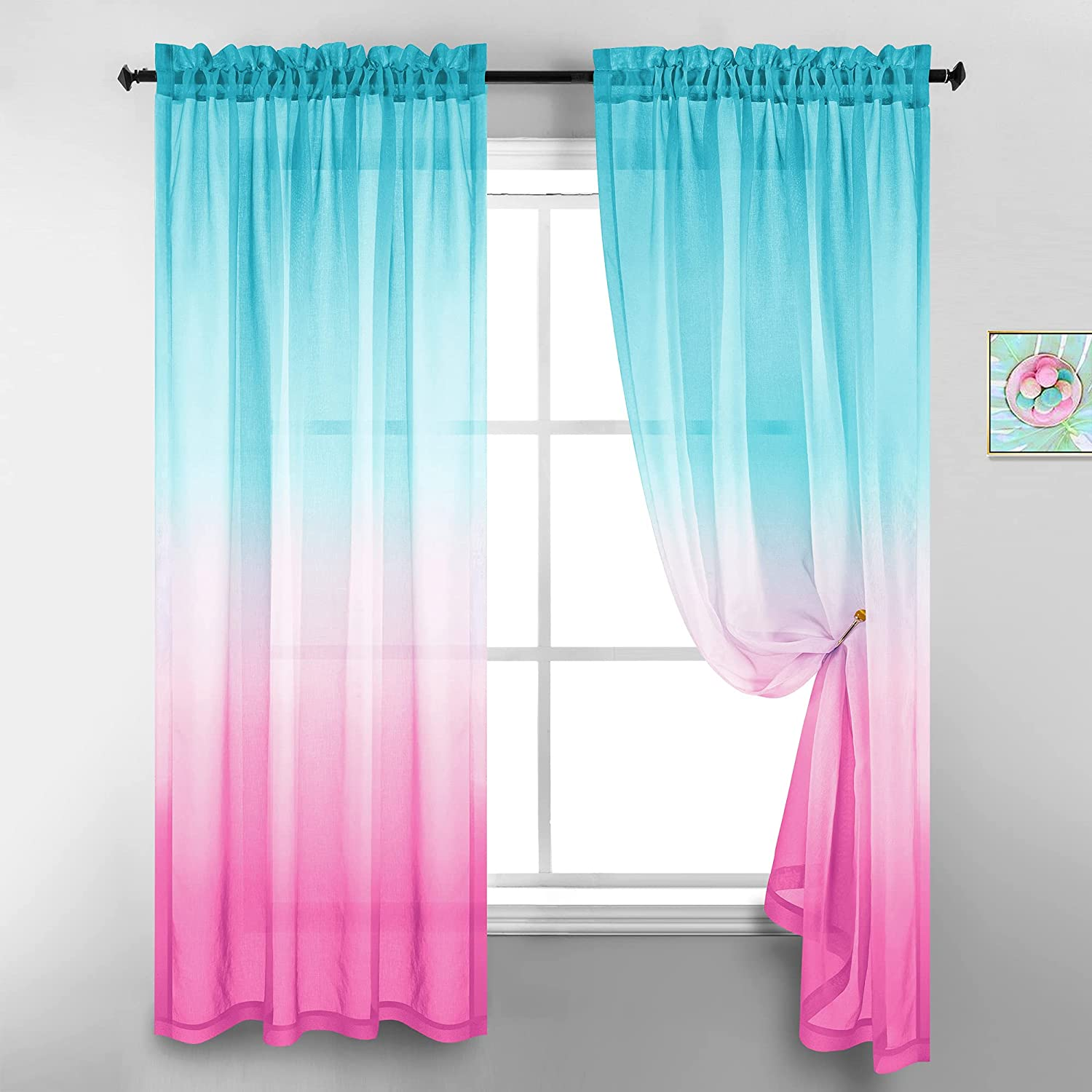 Teen Girl Bedroom Decor Ombre Sheer Light Pink Curtains for Girls Room Decorations Mermaid Aqua and Pink 52 x 84 Inch Length