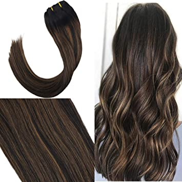 Youngsee 18inch Ombre Balayage Hair Extensions Clip in Remy Human Hair  Extensions Natural Black Fading to
