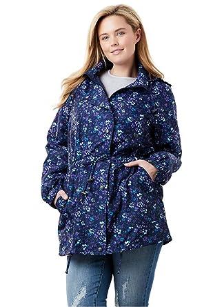 8406265e853 Woman Within Plus Size Fleece-Lined Taslon Anorak at Amazon Women s ...