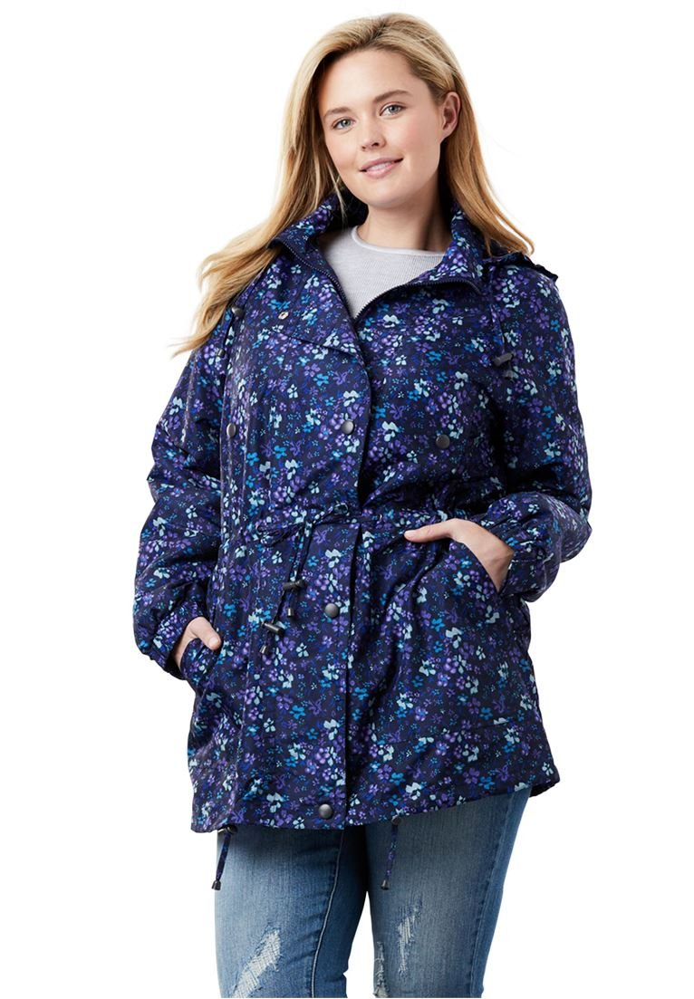 Women's Plus Size Weather-Resistant Taslon Anorak Navy Floral,L