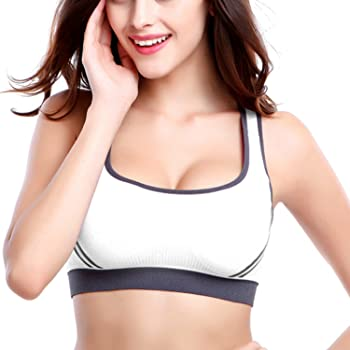 ATTRACO Woman Workout Bra Pullover Strap Criss Cross Back Low Impact Black L