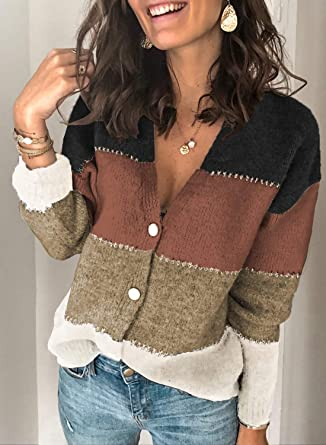 AlvaQ Womens V-Neck Cardigan Long Sleeve Striped Button Front Loose Knitted Sweater