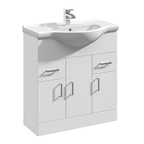 vanity unit with sink 500mm 750mm rigid high gloss white bathroom vanity unit basin sink storage cabinet furniture by premier amazoncom