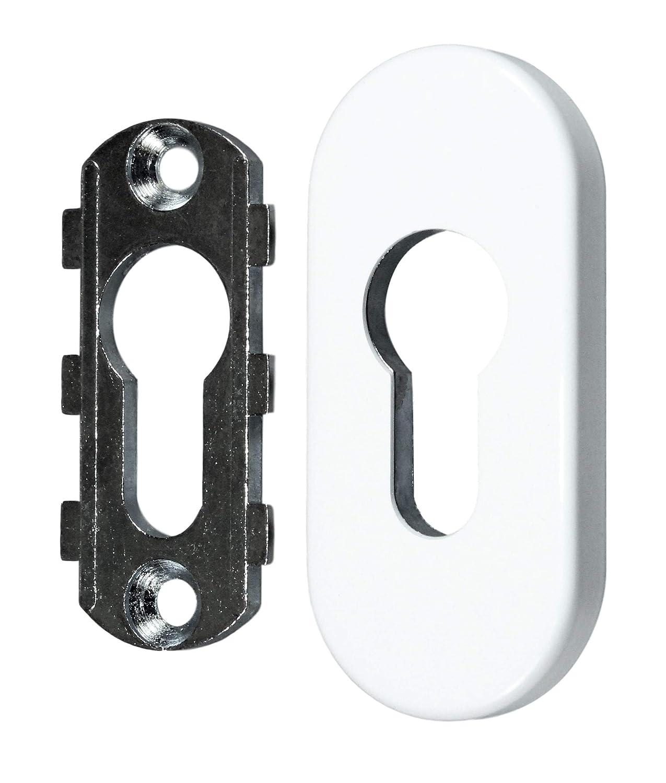 Zylinderschutz oval 9mm Wei/ß RAL 9016 SN-TEC Schutzrosette//Schieberosette