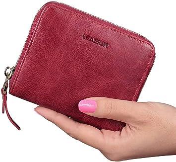 TM Bleu Fonc/é Unisexe Mini Porte-Monnaie Portefeuille Poche Cuir PU Zipp/é Porte Cl/és Carte Cr/édit Cadeau Qiao Nai