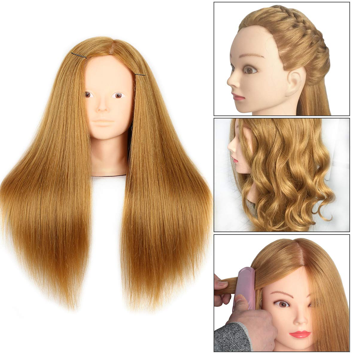 20 Inch Mannequin Head Human Hair Styling Training Head Manikin Cosmetology Head Hair Hairdressing training Face Makeup Practice head 27#