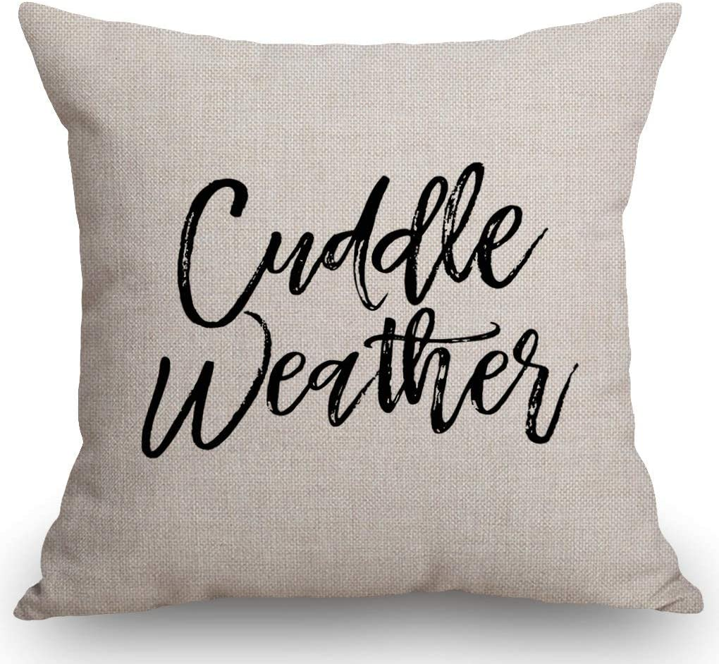 "SSOIU Cuddle Weather Pillow Covers, Funny Gifts Decor, Cotton Linen Pillow Case Cushion Cover for Sofa Couch Decor 18""x 18""Inch"