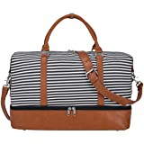 S-ZONE Women Canvas Weekender Bag Overnight Carryon Duffel Tote PU Leather Strap(X-Large)