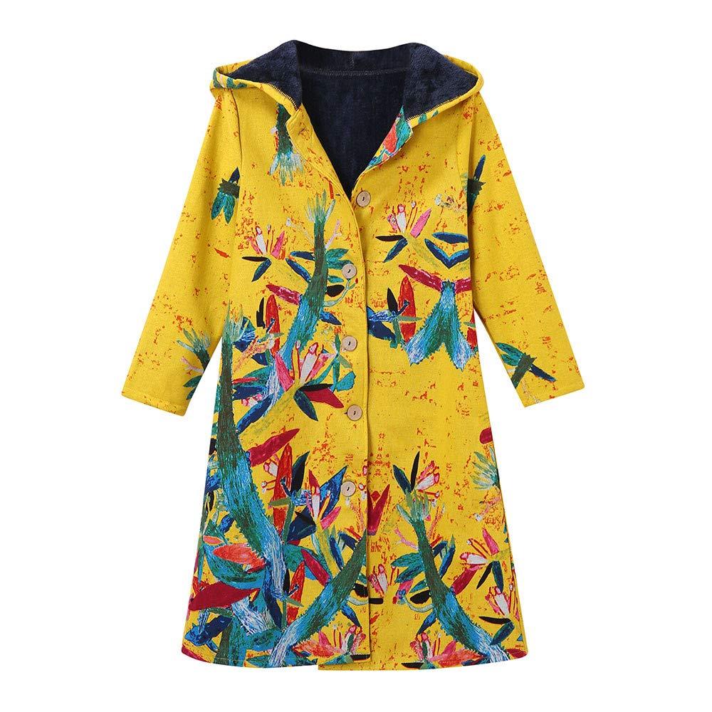 Women Winter Warm Cotton Linen Print Buttons Long Pockets Coat Outwear Parka Overcoat Oversize Ladysdress