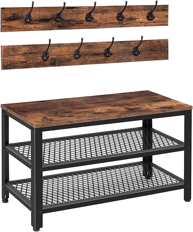 HOOBRO Coat Rack Shoe Bench Set, Entryway Shoe Bench with Coat Hooks, Industrial Shoe Storage Organizer, Multifunctional, Sturdy Steel Frame, Rustic Brown and Black BF17MT01
