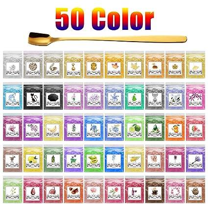 50 Colors Mica Powder, 250g Cosmetic Grade Epoxy Resin Powder Pigment Natural Pearl Color Dye