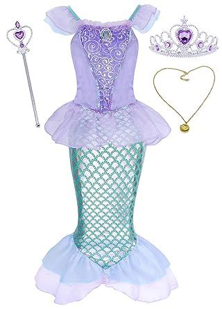 431b9903f3523 HenzWorld Little Mermaid Costume Dress Ariel Princess Girls Birthday Party  Cosplay Halloween Outfit