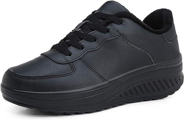 Hoylson Zapatillas Deportivas de Mujer Zapatos de Cuña Aptitud Sneakers Calzado para Damas Blanco Negro Rosado 35-42: Amazon.es: Zapatos y complementos