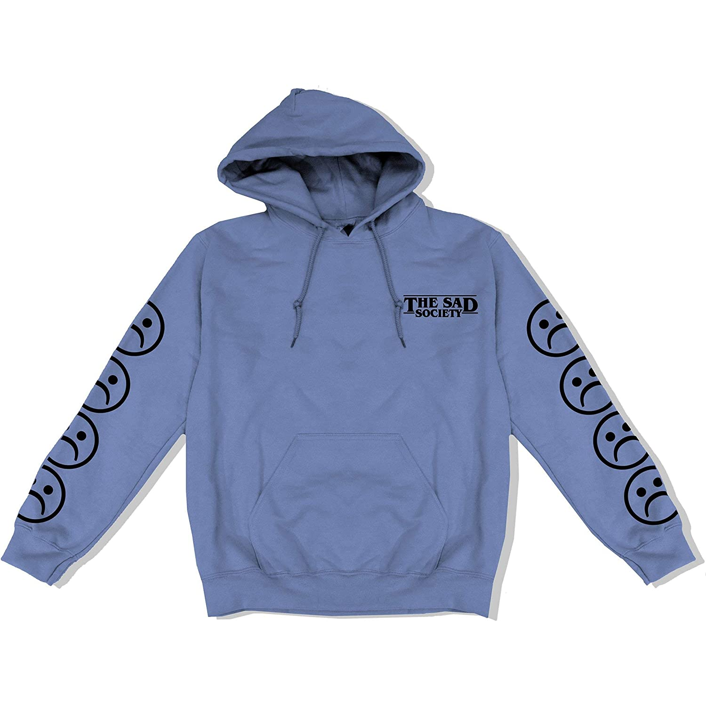 Cool Baby Blue Bogo Sad Face Sleeved Hoodie The Sad Society Unisex Street Wear Hoodie