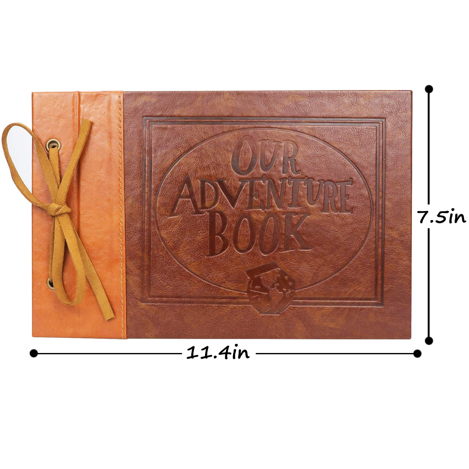 LUNIQI Leather Embossed Letter Cover Our Adventure Book Storage Box Travel Hold 3X5 6X8 with Pen Hand Made DIY Collecting Photoes for Family 5X7 Scrapbook Albums Marry Party Stickers 4X6