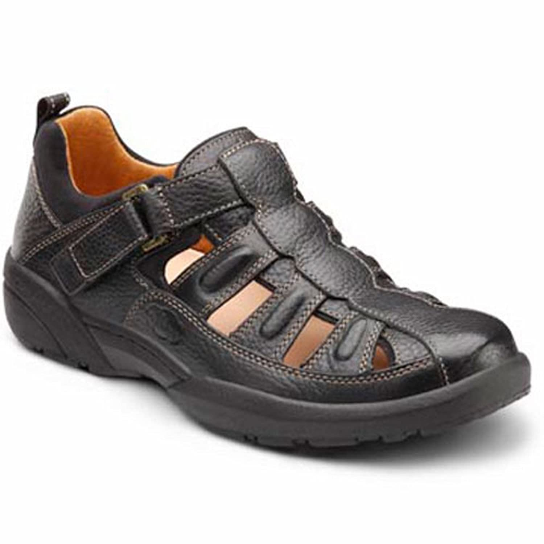 Dr. Comfort Fisherman Men's Therapeutic Diabetic Extra Depth Sandal Leather Velcro 13.0 X-Wide (3E/4E) US Men|Black
