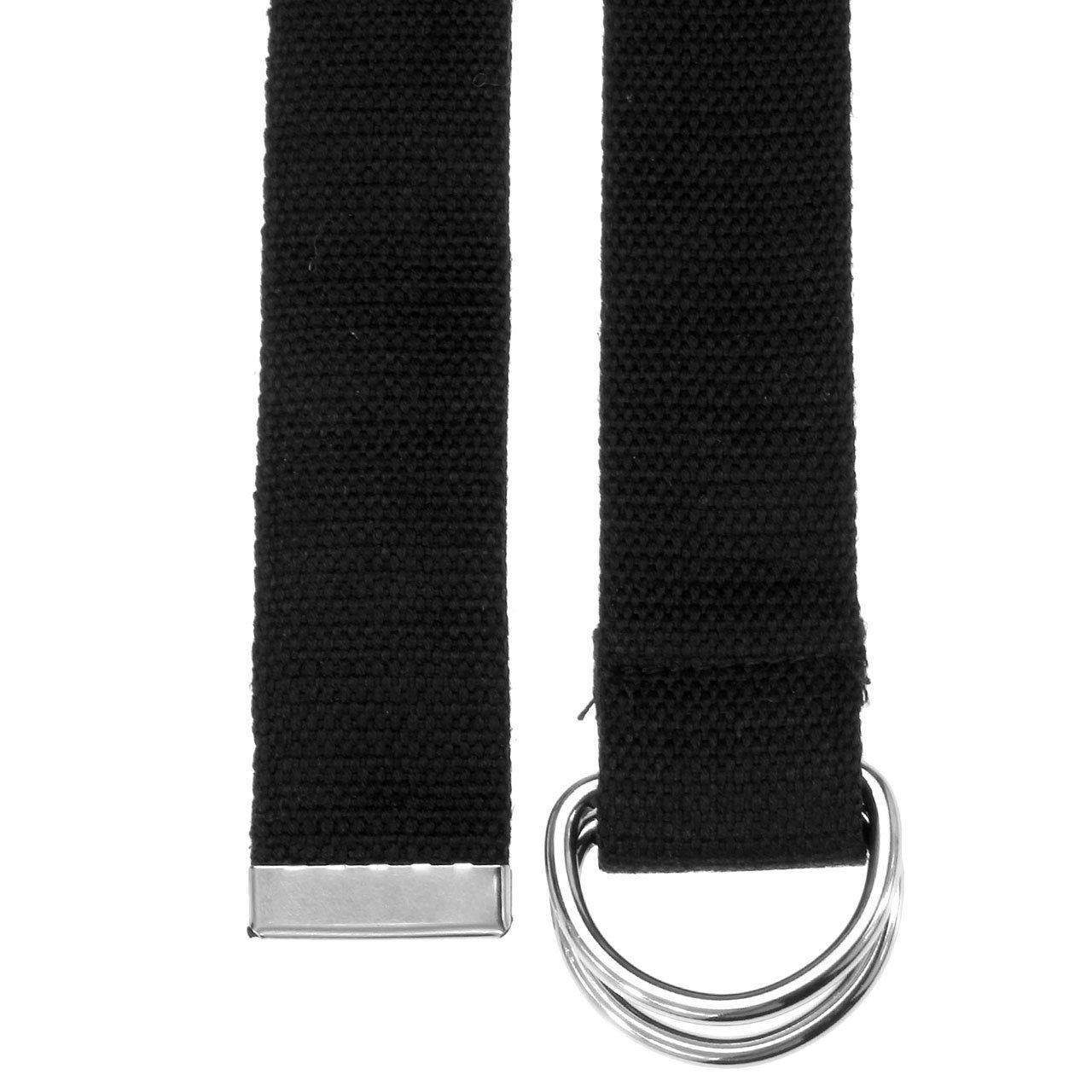 Faleto Herren Damen Gürtel Stoffgürtel mit Doppel D-ringe Schnalle Leinwand Canvas Jeansgürtel Belts 113cm + Original Geschenkbox (Schwarz)