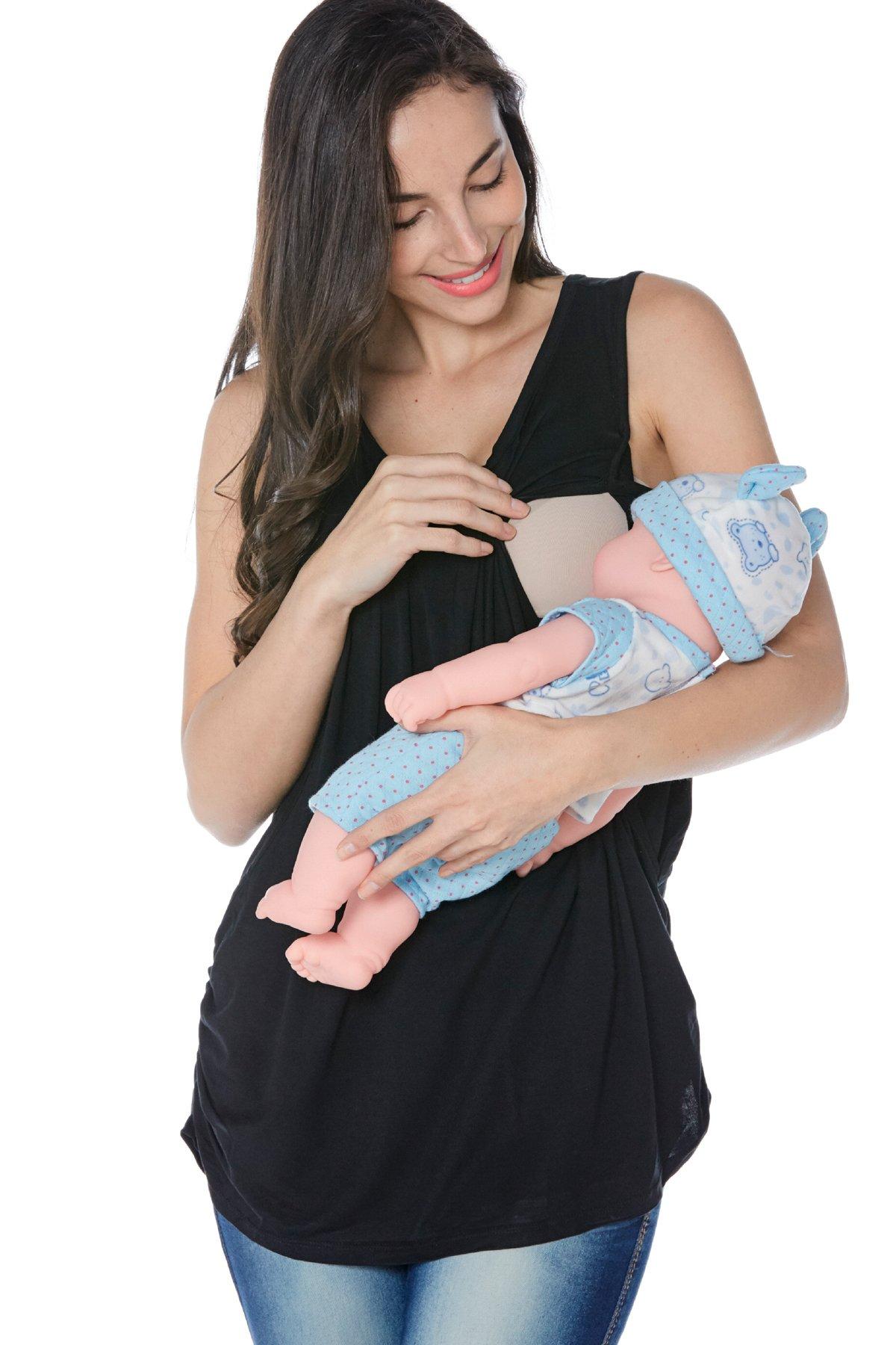 Smallshow Women's Maternity Nursing Tank Top Sleeveless Comfy Breastfeeding Clothes,Black,Medium