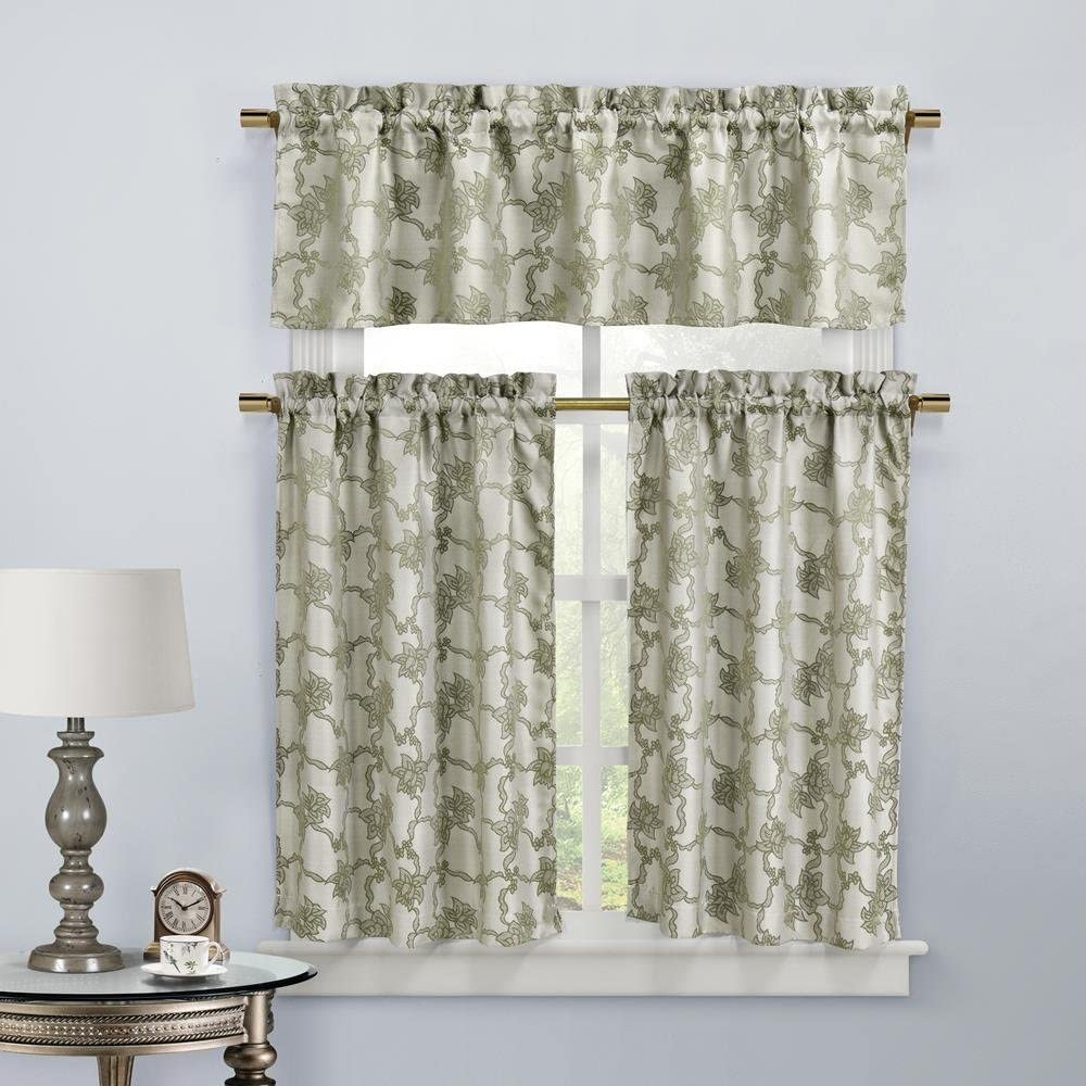 Home Maison Gala Floral 3 Piece Kitchen Window Curtain Tier & Valance Set, 2 Tiers 29 x 36 & One Valance 58 x 15, Taupe
