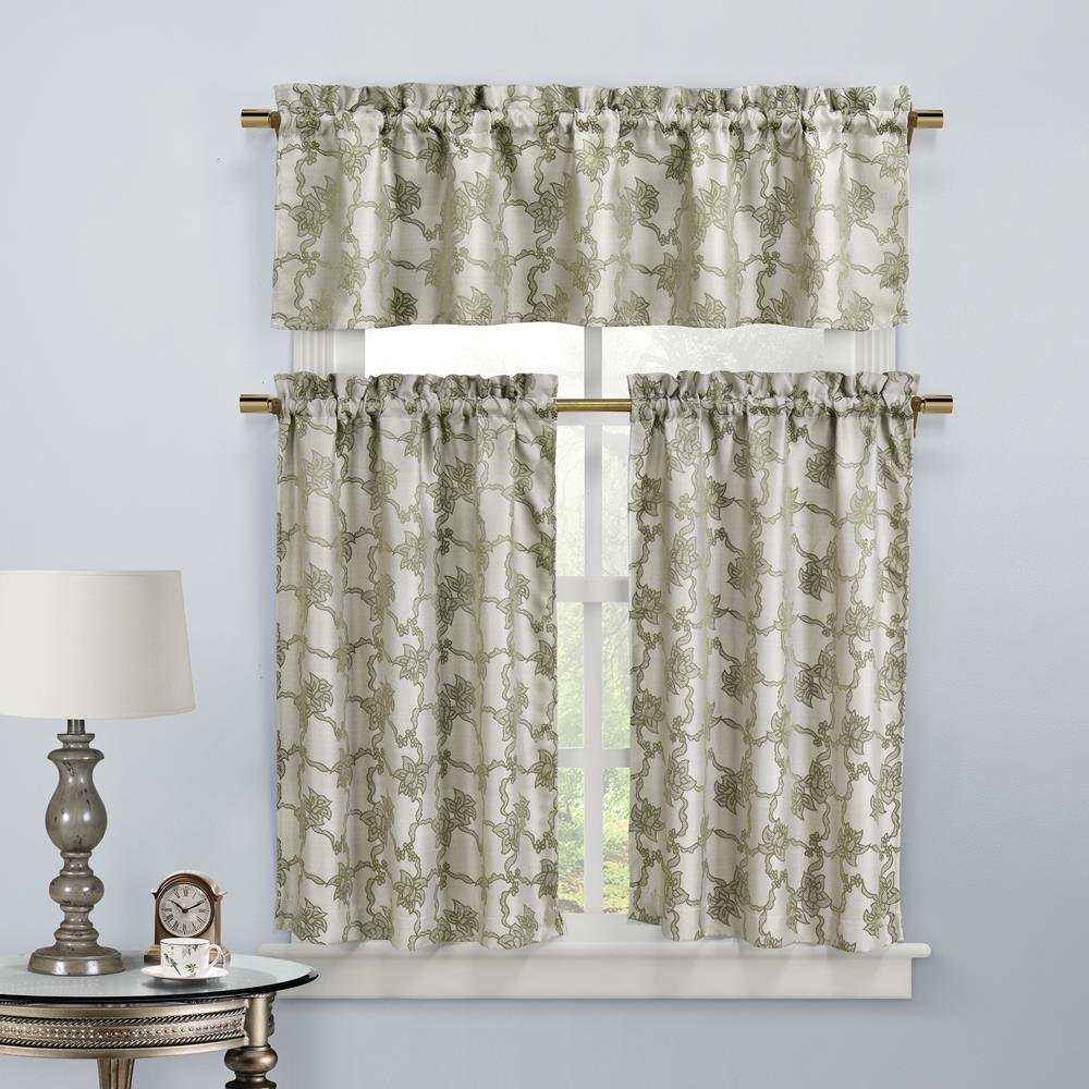 Home Maison Gala Floral 3 Piece Kitchen Window Curtain Tier & Valance Set 2 Tiers 29 x 36 & One Valance 58 x 15 Taupe