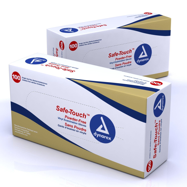 Dynarex Safe-Touch Vinyl Exam Glove Powder Free - Md 10/100/Cs by Dynarex (Image #1)