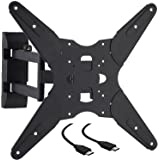 Cattail TV Wall Mount Bracket W/ Full Motion Swing Out Tilt For 17 23 27 30 32 39 40 42 43 45 48 49 50 55 Inch LED LCD OLED Plasma Flat Screen Display Monitor Up To 110 Lbs VESA 400 mm, W/ HDMI Cable