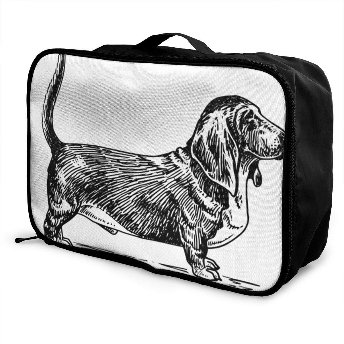 ADGAI Dog with Big Ears Canvas Travel Weekender Bag,Fashion Custom Lightweight Large Capacity Portable Luggage Bag,Suitcase Trolley Bag