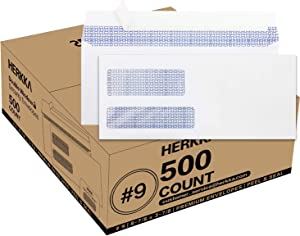 #9 Double Window Security Envelopes, HERKKA No.9 Double Window Bussiness Envelopes Designed for Quickbooks Invoices and Business Statements - Number 9 Size 3 7/8 Inch X 8 7/8 Inch - 24 LB - 500 Count