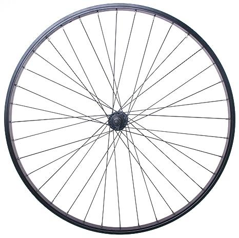 """Rueda delantera 26 """"eje sólido para bicicleta negro llanta, radios de color negro"""