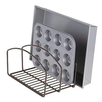 mDesign Organizador de cocina – Bandeja organizadora con 3 apartados para poner orden en la cocina