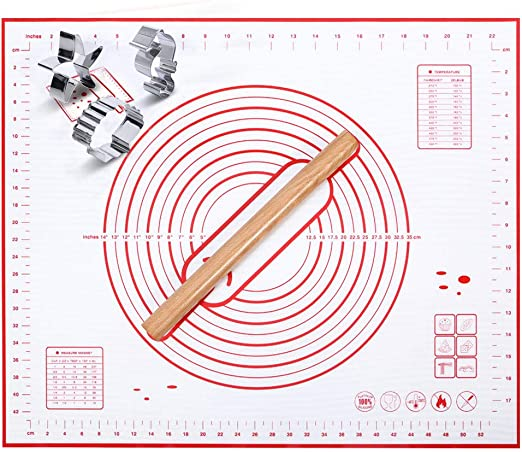 """ZCHING Silicone Pastry Mat with Measurement Not-Slip Rolling Dough Mats for Baking 24/"""" x 16/"""" black"""