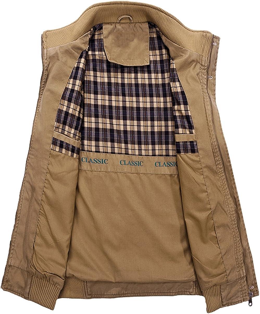 DHYZZ Herren Fr/ühling Herbst Draussen Casual Gilet Multi-Tasche Baumwolle /ärmellose Jacke Milit/är Cargo Weste