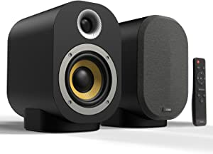 Bluetooth Bookshelf Speakers, Compact 40W Active + 20W Passive Hi-Fi Wireless Professional Studio Monitors, Performance Tuned 4 Inch Kevlar Speaker Drivers with 1 Inch Tweeter Built in Amplifier