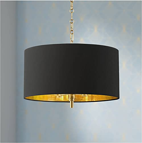 Warm Gold Drum Pendant Chandelier 20″ Wide Modern Black Fabric Shade Fixture
