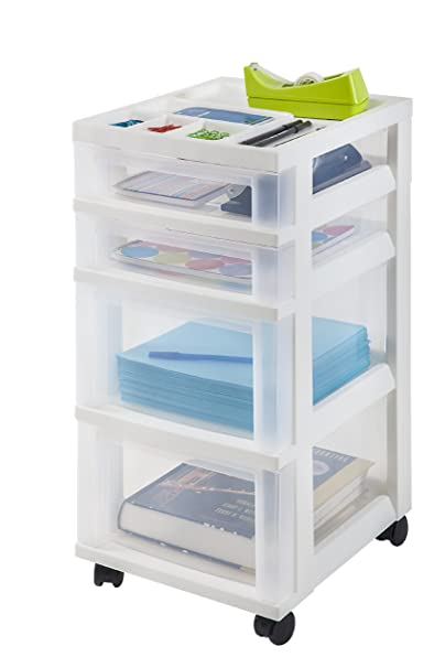Amazon.com: IRIS 4-Drawer Storage Cart With Organizer Top, White ...