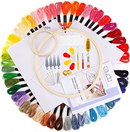 Caydo Full Range of Embroidery Starter Kit Cross Stitch Tool Kit Including 10 Inch Bamboo Embroidery Hoop 36 Color Threads 12 by 18-Inch 14 Count Classic Reserve Aida and Tool Kit for Beginners