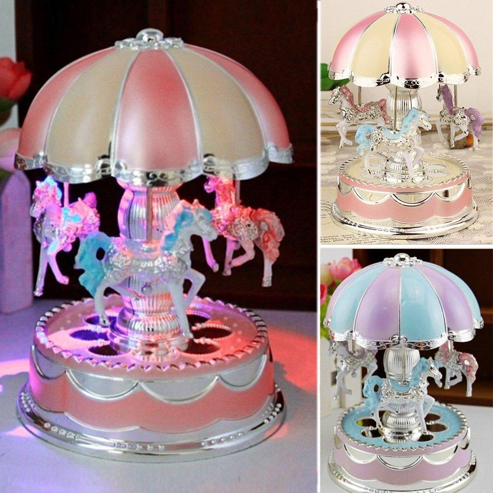 yodaliy Creative Wonderful Gift,Romantic Merry-Go-Round Music Box Flash Light Baby's Room Lamp Bedside Light Home Decor Carousel Kid Gift Birthday (Pink Purple)(Purple)
