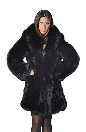 af604675a0 Black Fox Fur Coat Fox Collar at Amazon Women's Coats Shop