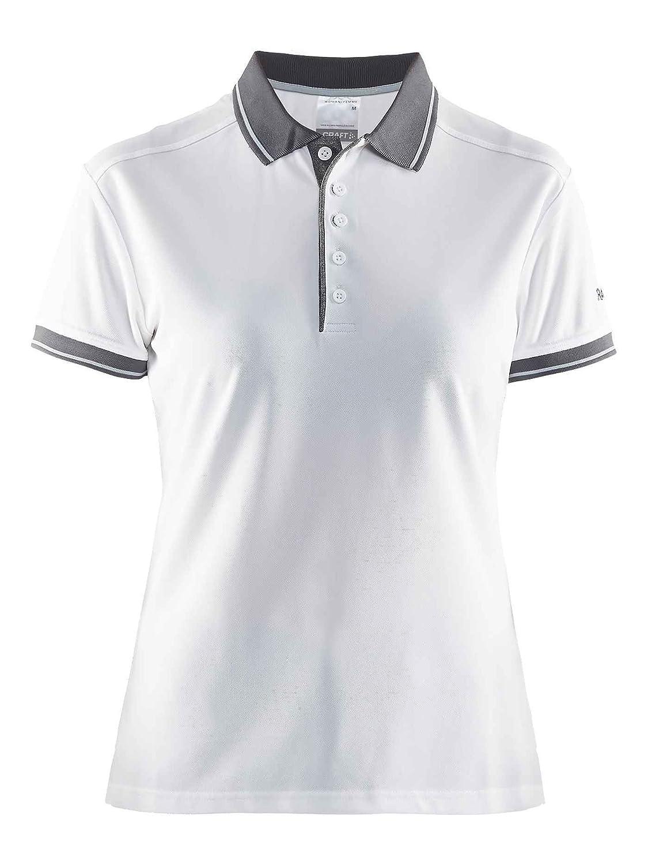 Craft Noble Polo Piqué W Mujer, White/Dark Grey Melange, Large ...