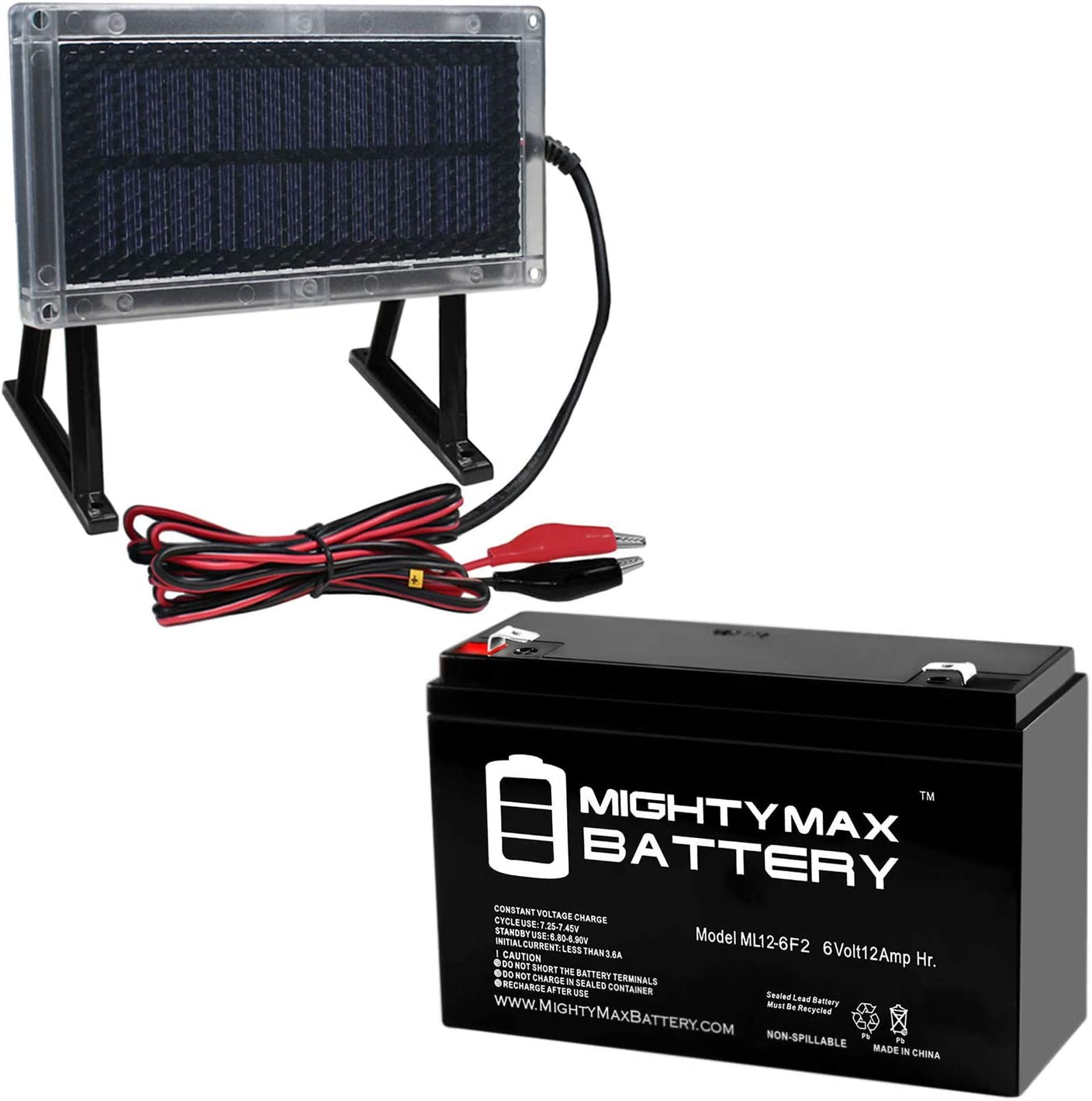 Mighty Max 12 VOLT 12 AH SLA BATTERY F2 WITH 12V SOLAR PANEL CHARGER