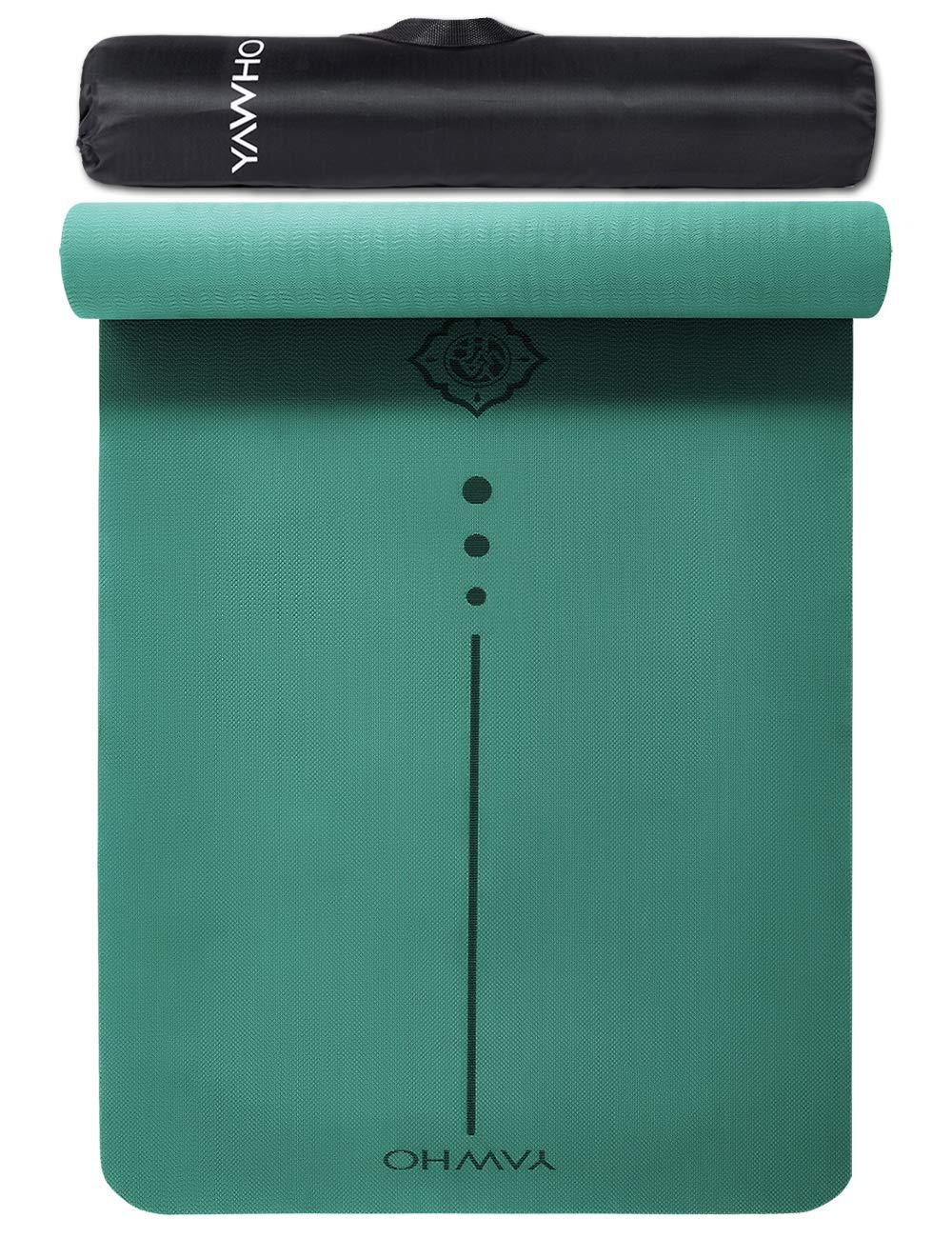 YAWHO Colchoneta de Yoga Esterilla Yoga Material medioambiental TPE,Modelo:183cmx66cm Espesor:6milímetros,Tapete de Deporte Grande y Antideslizante,Mochilas como Regalos product image