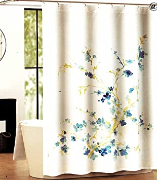 Tahari Home Printemps White Blue Floral Fabric Shower Curtain. Amazon com  Tahari Home Printemps White Blue Floral Fabric Shower