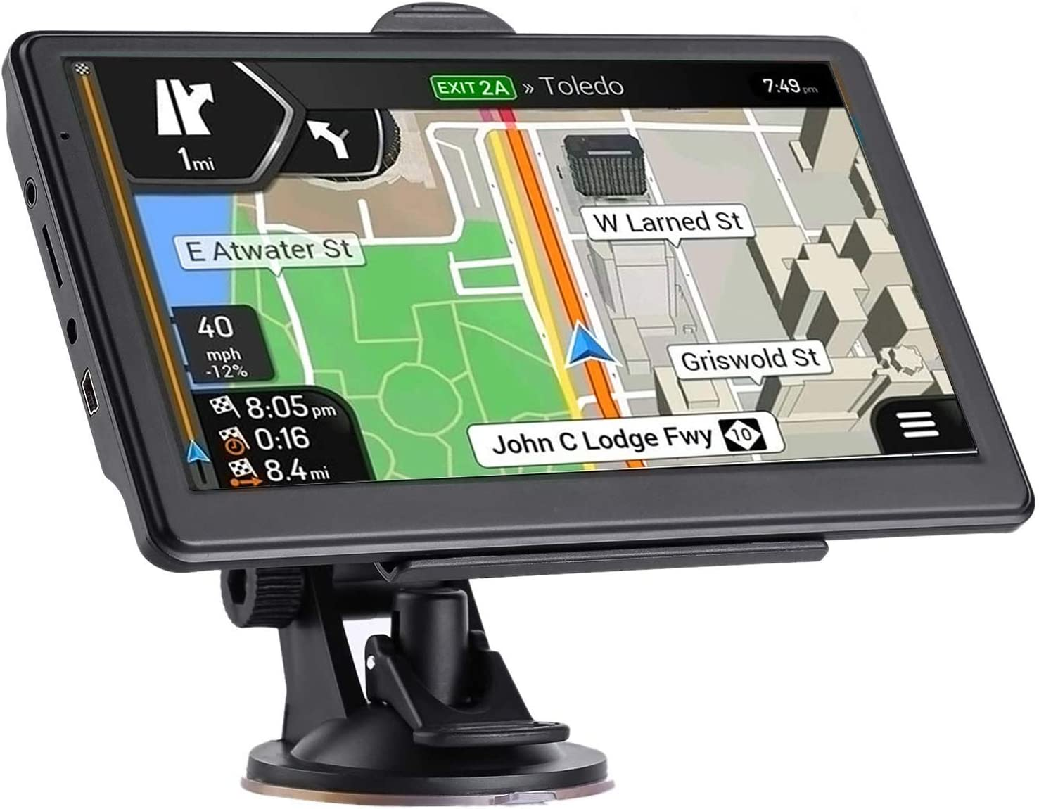 Support Speed and Red Light Warning Pre-Installed North America Lifetime map Free Update/… /… Latest 2020 Map 7 inch Touch Screen Car GPS 256-8GB GPS Navigation for Car Voice Turn Direction Guidance