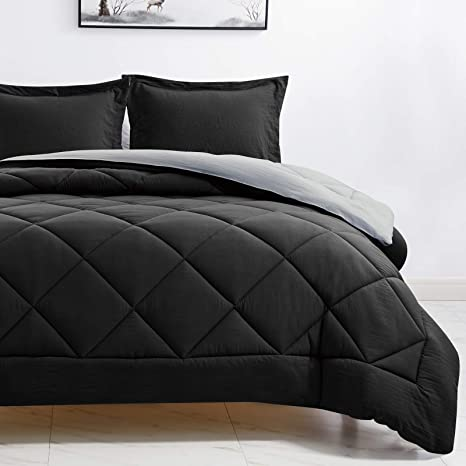 Cozylux Twin Reversible Comforter Set Black Light Grey Lightweight Fluffy Down Alternative Duvet Insert Soft Microfiber Bed Set For Boys And Girls 2 Piece Includes 1 Comforter 1 Sham Home Kitchen