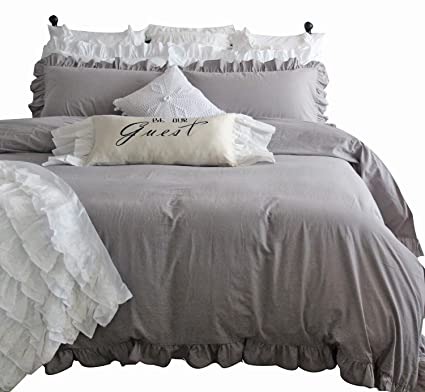 Amazon Com Queen S House Duvet Cover Cal King Gray Washed Cotton