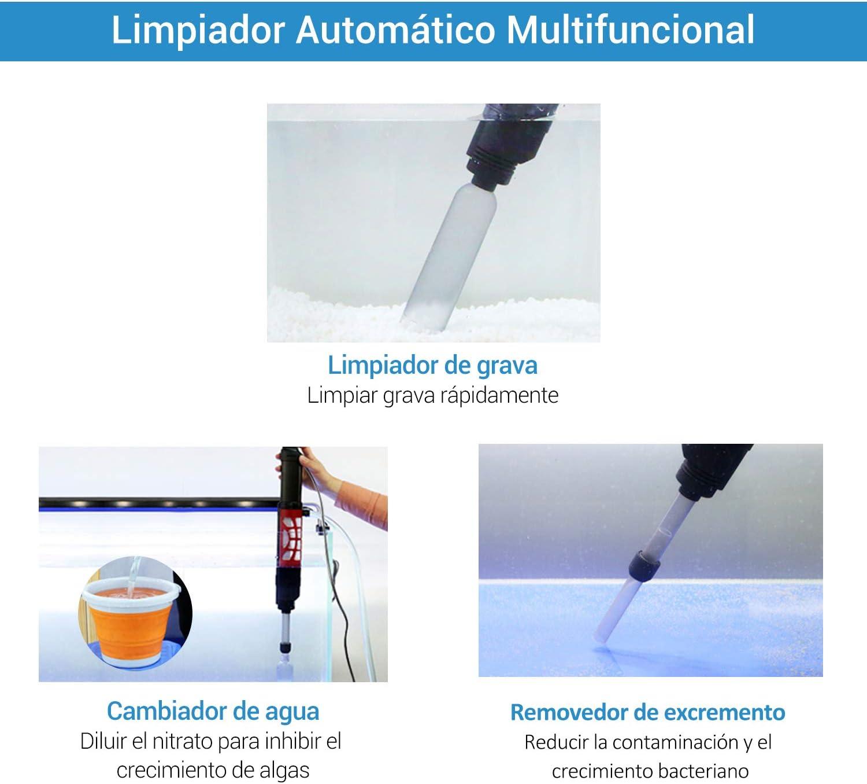 NICREW Aspirador Automático para Acuario, Limpiador Grava Acuario, Cambiador de Agua Acuario Adecuada para Peceras Medianas y Grandes: Amazon.es: Productos para mascotas