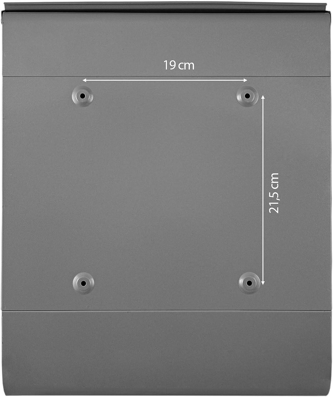 Banjado Design Briefkasten personalisiert mit Motiv Historischer Stadtkern A4 Einwurf Stahl pulverbeschichtet mit Zeitungsrolle Gr/ö/ße 39x47x14cm Montagematerial 2 Schl/üssel inkl