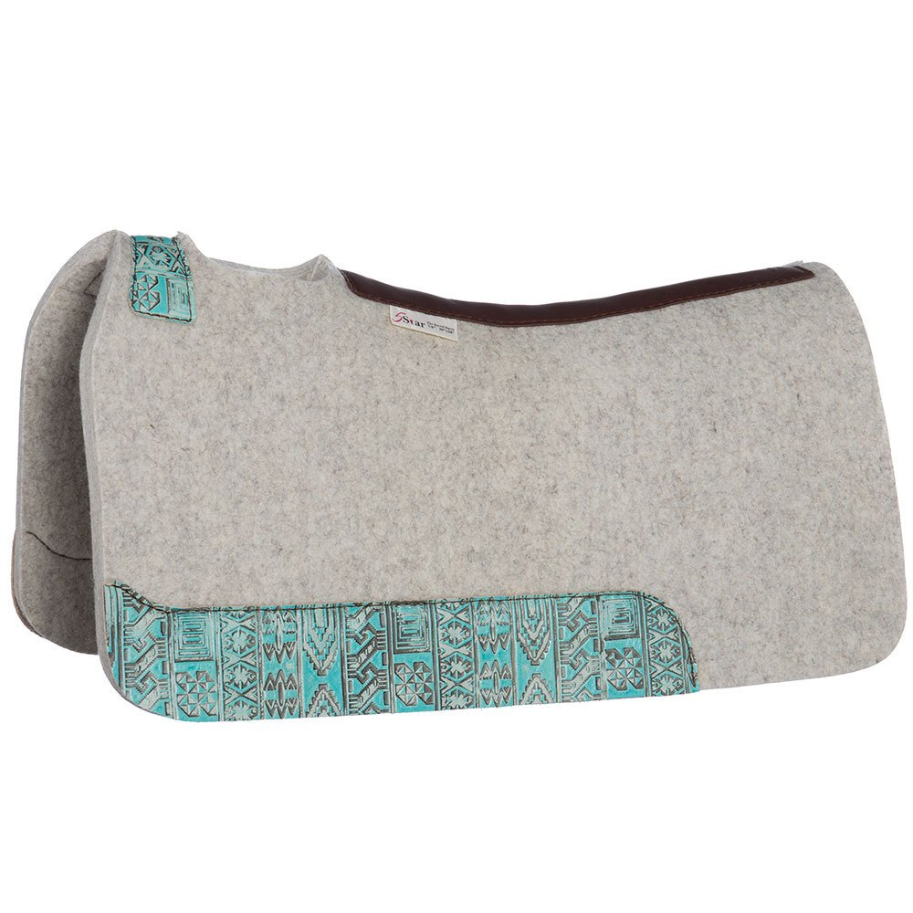 NRS 5 Star Equine 5 Star 7 8 Felt Barrel Pad with Turq Indiano Wear Leathers 30X28 Natural
